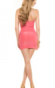 Forever Sexy - ISF1424 Deep Neckline Halterneck Mini Dress