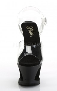 Pleaser - MOON-708 Black Cut-Out PF Ankle Strap Sandal