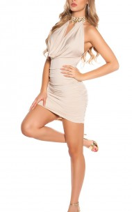 Forecer Sexy - 9037-N Sexy Neck Dress