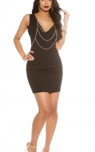 Forever Sexy - K4995-2 Sexy Black Dress With Chain