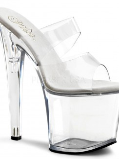 high heels Champagne Heels pleaser taboo 702 stiletto heel two band pf slide